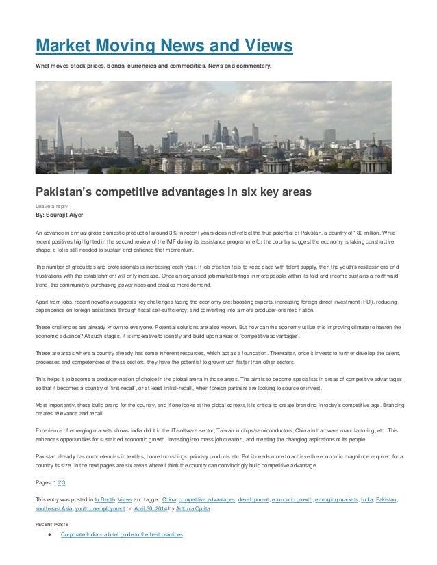 Sourajit Aiyer - www.MarketMoving.Info, UK - Pakistan's competitive advantages in six key areas - Apr 2014