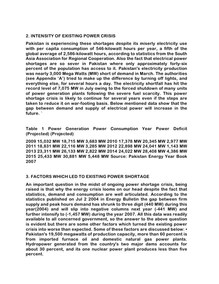 essay on electricity load shedding in pakistan Essay on load shedding in pakistan 2012 electricity in pakistan (urdu: بجلی‎) is generated, transmitted, distributed, and retail supplied by two vertically.