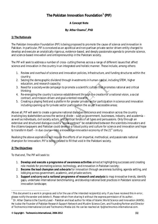 The Pakistan Innovation Foundation1 (PIF)                                                       A Concept Note            ...