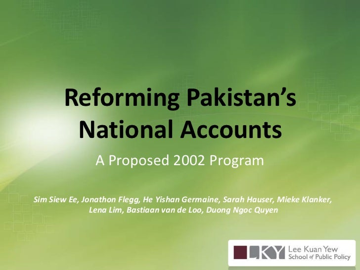 Reforming Pakistan's National Accounts: A Proposed 2002 Program