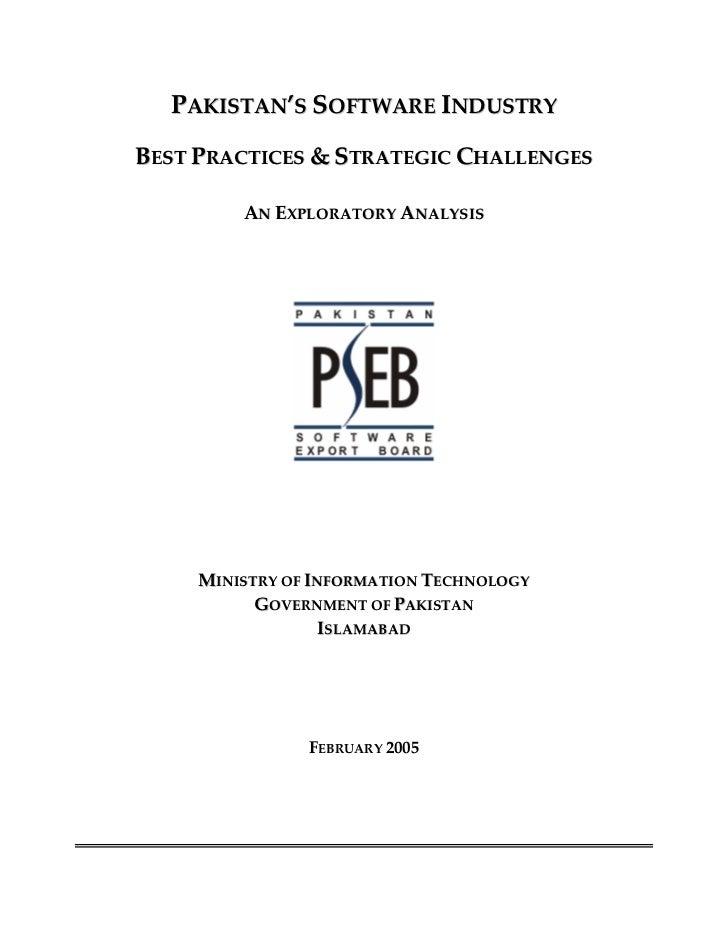 Pakistan Software Industry Best Practices Study 2004