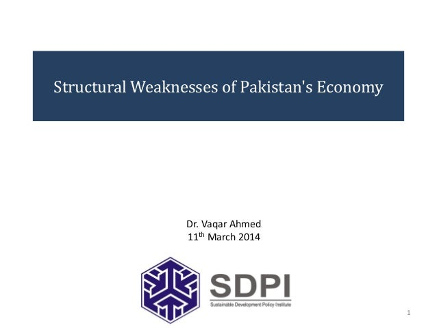 Structural Weaknesses of Pakistan's Economy 1 Dr. Vaqar Ahmed 11th March 2014