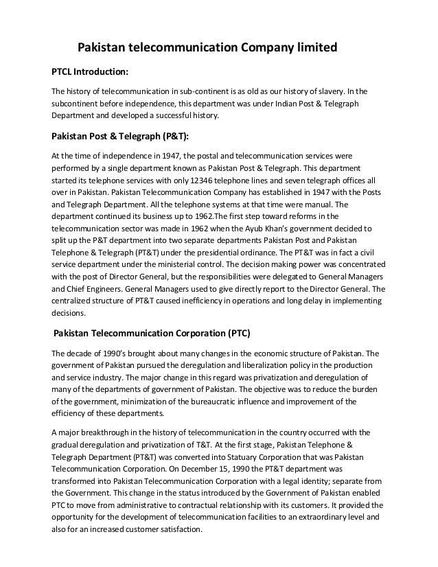 Pakistan telecommunication company limited assignment