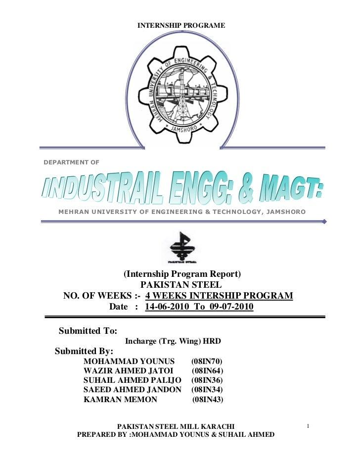 Pak steel intership report