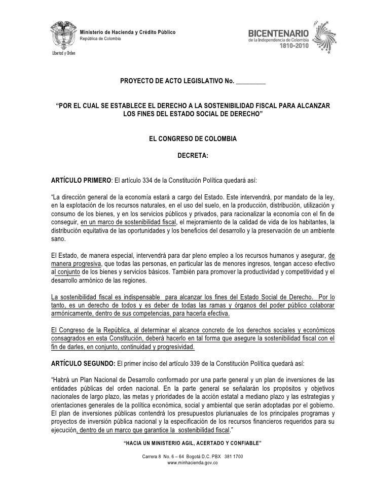 """Pal 016 2010-c_(sostenibilidad_fiscal) """"por el cual se establece el derecho a la sostenibilidad fiscal para alcanzar los fines del estado social de derecho"""""""