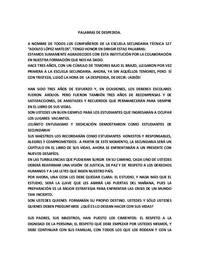 PALABRAS DE DESPEDIDA.A NOMBRE DE TODOS LOS COMPAÑEROS DE LA ESCUELA