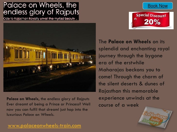 Book Now                                                   The Palace on Wheels on its                                    ...