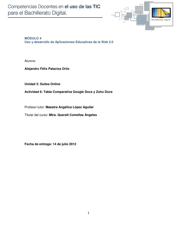 MÓDULO 4Uso y desarrollo de Aplicaciones Educativas de la Web 2.0AlumnoAlejandro Félix Palacios OrtizUnidad 3: Suites Onli...