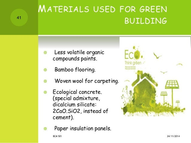 Green building materials list for Green building features checklist