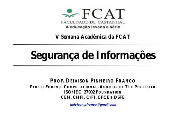 Palestra Sobre Segurança de Informações