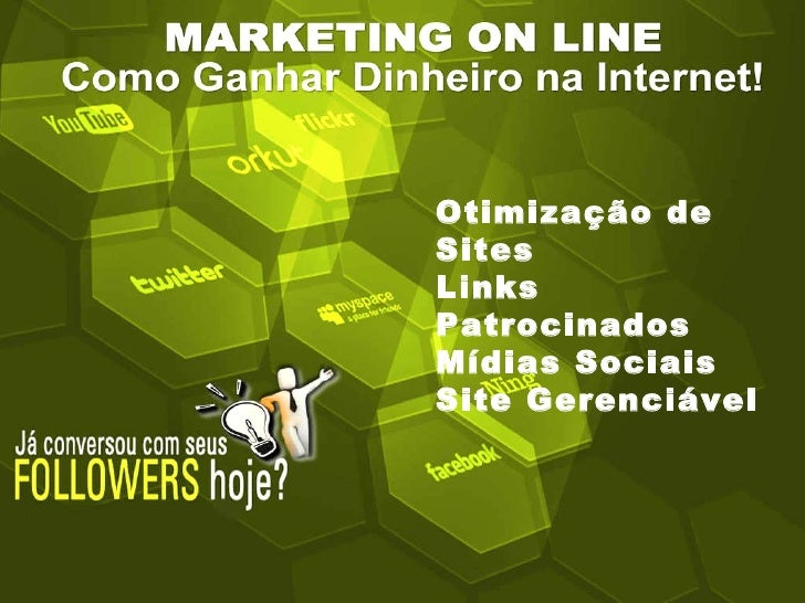 Otimização de Sites  Links Patrocinados Mídias Sociais Site Gerenciável