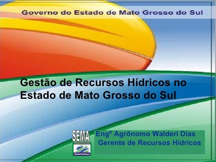 Engº Agrônomo Walderi Dias  Gerente de Recursos Hídricos SEMA Gestão de Recursos Hídricos no Estado de Mato Grosso do Sul