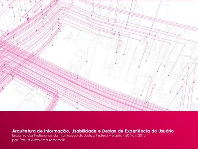 Arquitetura de Informação, Usabilidade e Design de Experiência do Usuário Encontro dos Profissionais da Informação da Just...
