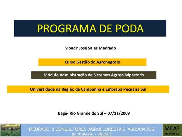 PROGRAMA DE PODA Moacir José Sales Medrado Módulo Administração de Sistemas Agrossilvipastoris Bagé- Rio Grande do Sul – 0...