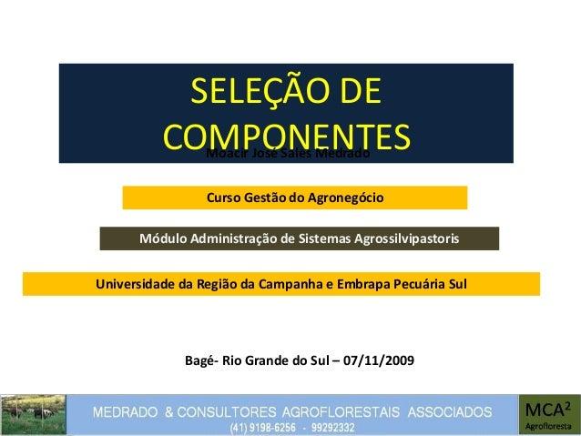 SELEÇÃO DE COMPONENTESMoacir José Sales Medrado Módulo Administração de Sistemas Agrossilvipastoris Bagé- Rio Grande do Su...