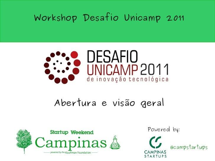 Workshop Desafio Unicamp 2011   Abertura e visão geral                     Powered by:                            @campsta...