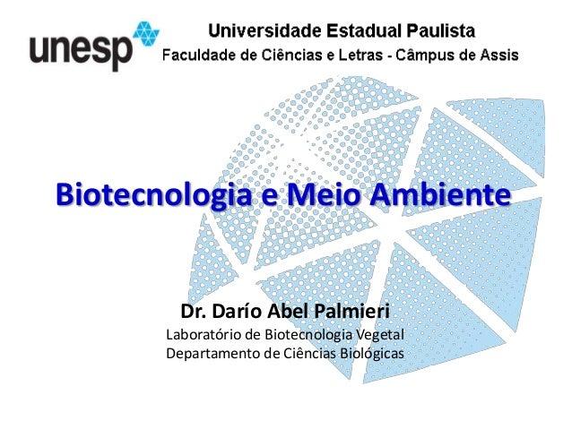 Biotecnologia e Meio Ambiente  Dr. Darío Abel Palmieri Laboratório de Biotecnologia Vegetal Departamento de Ciências Bioló...