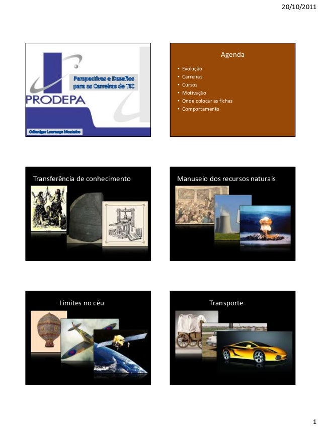 20/10/2011 1 Agenda • Evolução • Carreiras • Cursos • Motivação • Onde colocar as fichas • Comportamento Transferência de ...