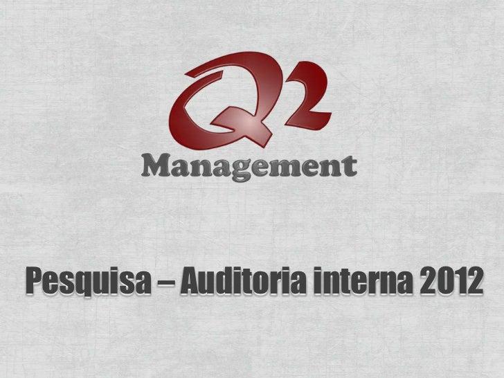 Pesquisa – Auditoria interna 2012