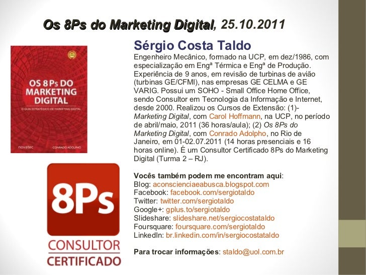 Palestra: Os 8Ps do Marketing Digital, UCP, Petrópolis, 25.10.2011