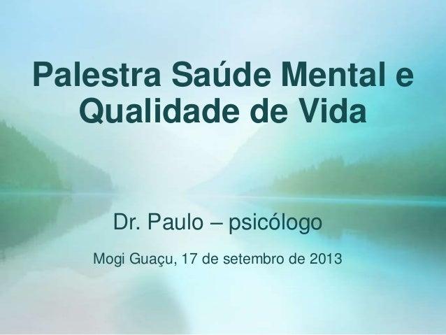 Circuito Saude E Vida : Palestra saúde mental e qualidade de vida