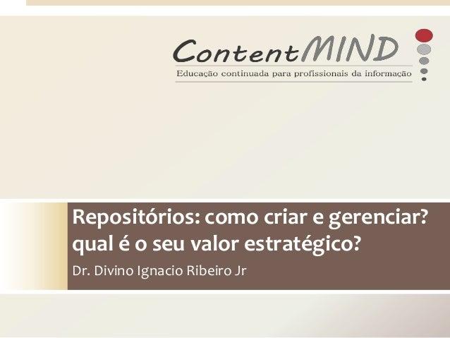 Repositórios: como criar e gerenciar? qual é o seu valor estratégico? Dr. Divino Ignacio Ribeiro Jr