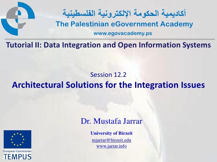 Pal gov.tutorial2.session12 2.architectural solutions for the integration issues