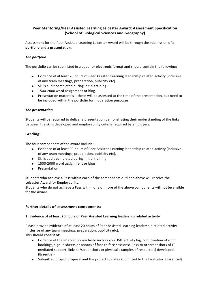 Peer Mentoring/Peer Assisted Learning Leicester Award: Assessment Specification<br />(School of Biological Sciences and Ge...