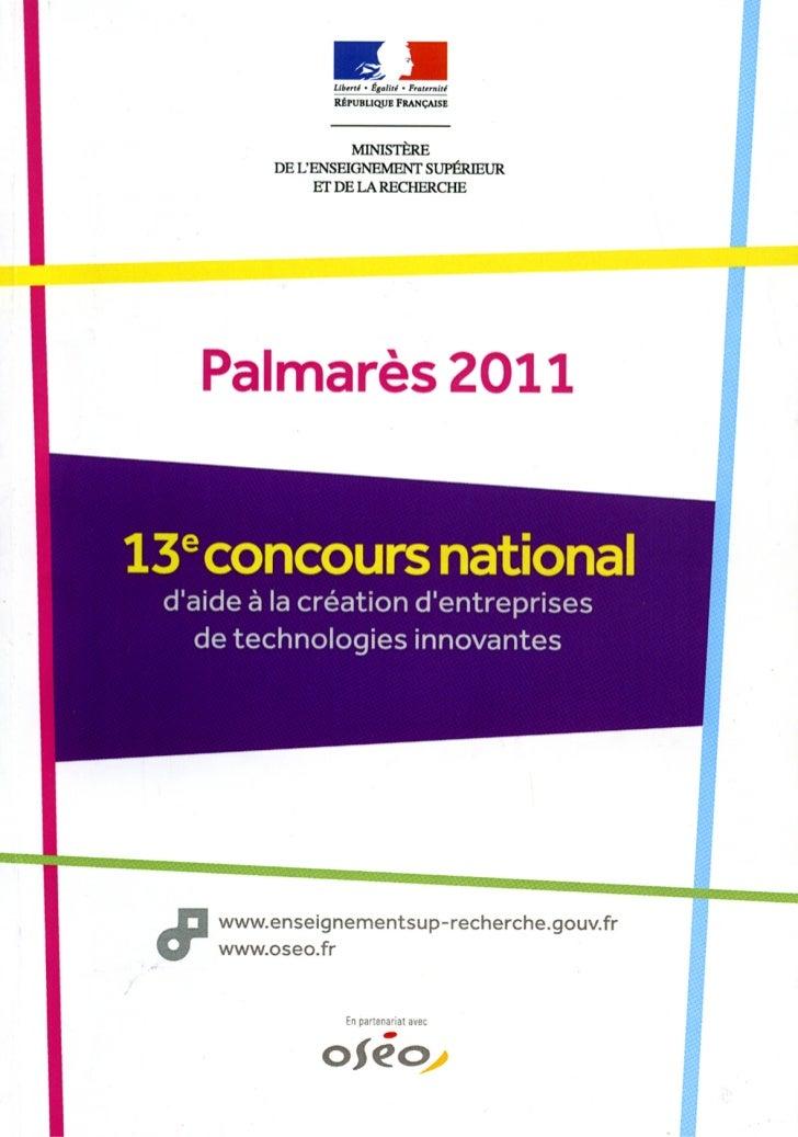Palmares 2011 du_13e_concours_national_d_aide_a_la_creation_d_entreprises_de_technologies_innovantes_184091