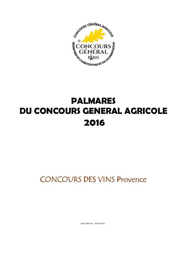 Palmar s vins de provence salon de l 39 agriculture 2016 for Palmares salon de l agriculture