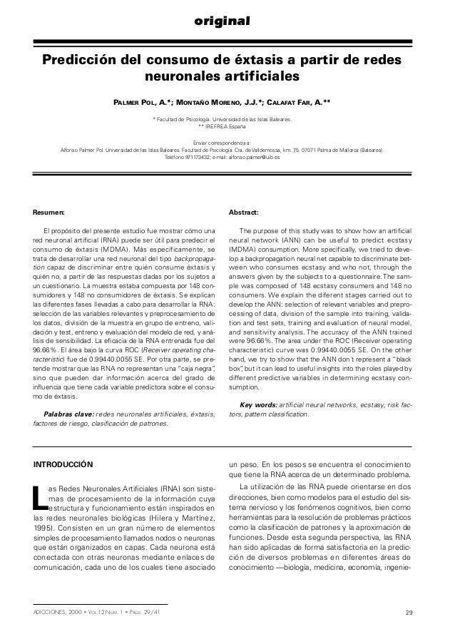 Palmer et al 2000 prediccion consumo extasis redes neuronales