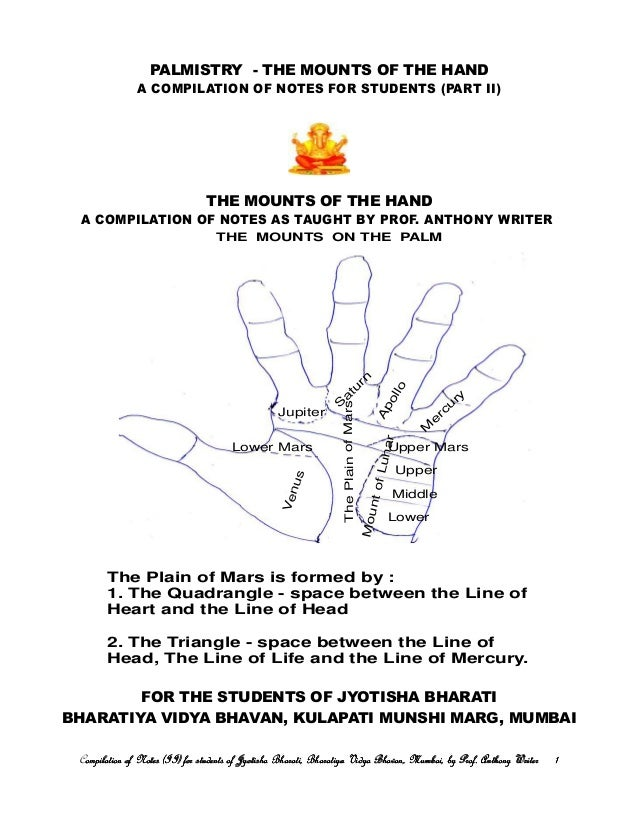 PALMISTRY - THE MOUNTS OF THE HAND A COMPILATION OF NOTES FOR STUDENTS (PART II) THE MOUNTS OF THE HAND A COMPILATION OF N...