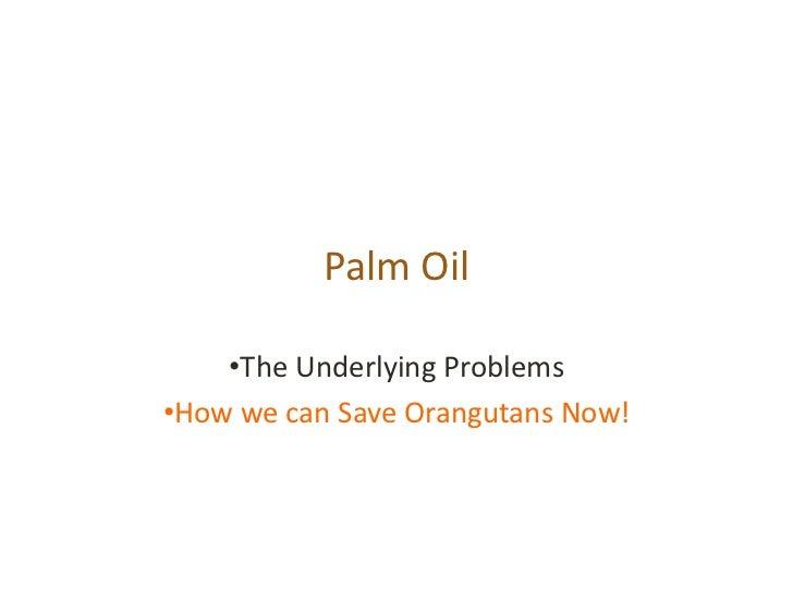 PalmOil     •TheUnderlyingProblems•HowwecanSaveOrangutansNow!