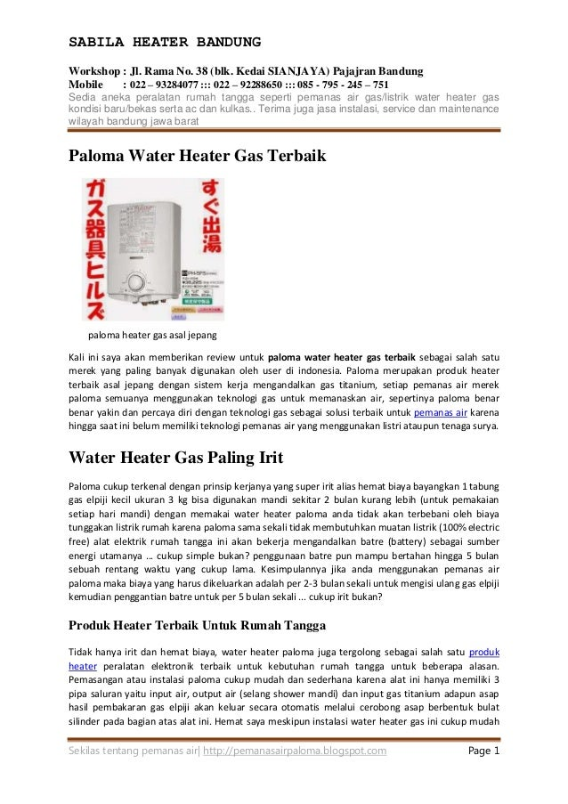 Gas Water Heater Terbaik