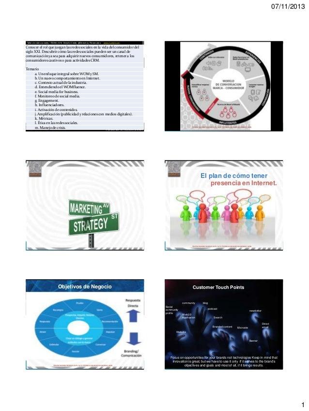 07/11/2013  Taller de redes sociales, ITESM, 2014 Moisés Cielak, @Derechos Reservados  www.mcielak.com  Conocer el rol que...