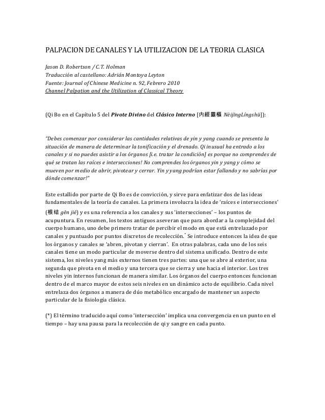 PALPACION DE CANALES Y LA UTILIZACION DE LA TEORIA CLASICA Jason D. Robertson / C.T. Holman Traducción al castellano: Adri...