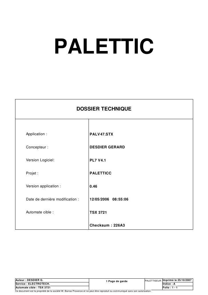 PALETTIC                                                         DOSSIER TECHNIQUE             Application :              ...