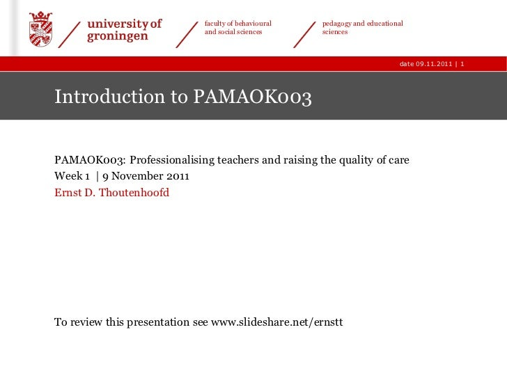 Introduction to professionalisation in education (PAMAOK003)