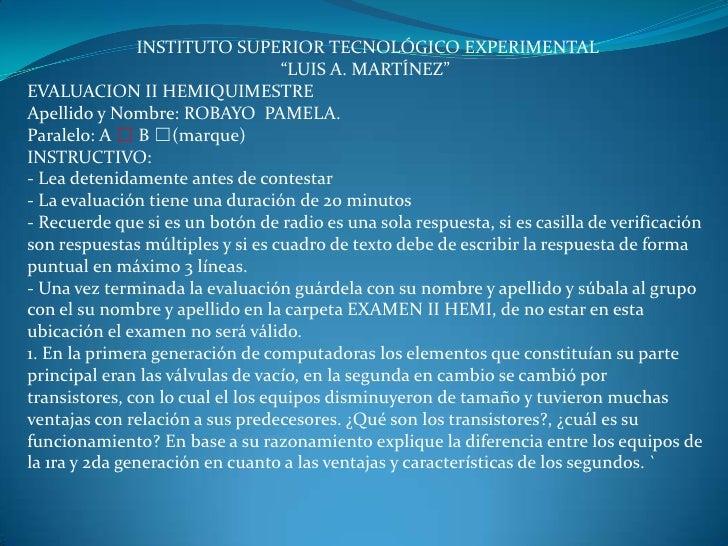 "INSTITUTO SUPERIOR TECNOLÓGICO EXPERIMENTAL                                   ""LUIS A. MARTÍNEZ""EVALUACION II HEMIQUIMESTR..."