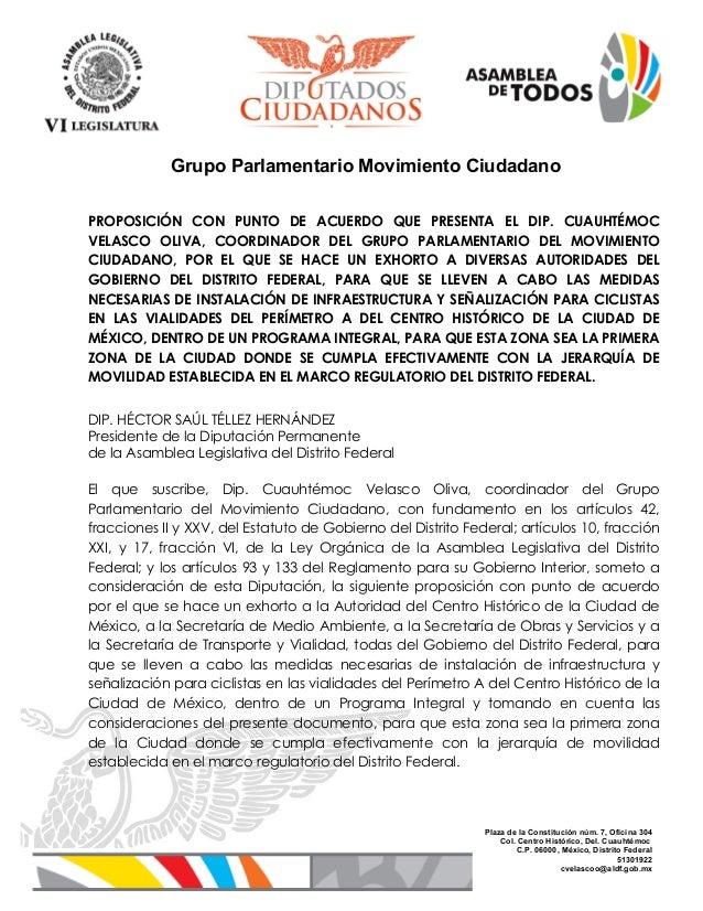Grupo Parlamentario Movimiento Ciudadano PROPOSICIÓN CON PUNTO DE ACUERDO QUE PRESENTA EL DIP. CUAUHTÉMOC VELASCO OLIVA, C...