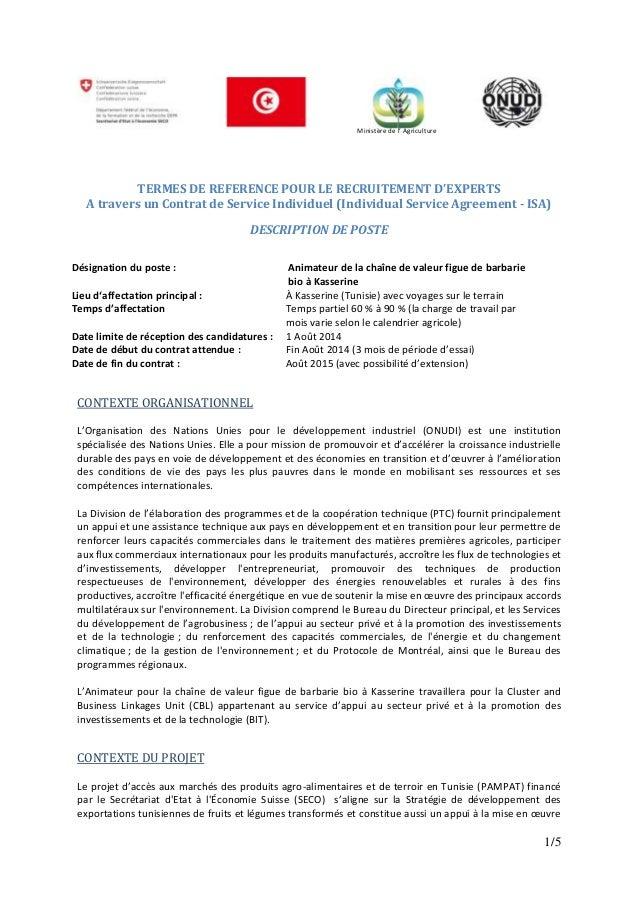 1/5 TERMES DE REFERENCE POUR LE RECRUITEMENT D'EXPERTS A travers un Contrat de Service Individuel (Individual Service Agre...