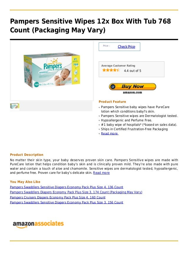 Pampers Sensitive Wipes 12x Box With Tub 768Count (Packaging May Vary)                                                    ...