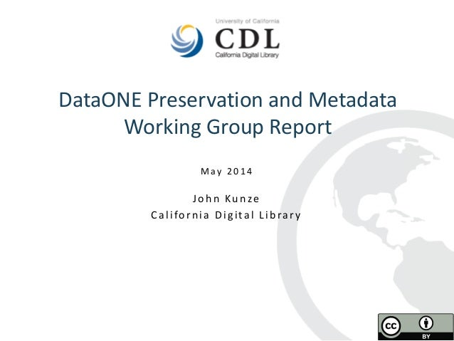 DataONE Preservation and Metadata Working Group Report 2014