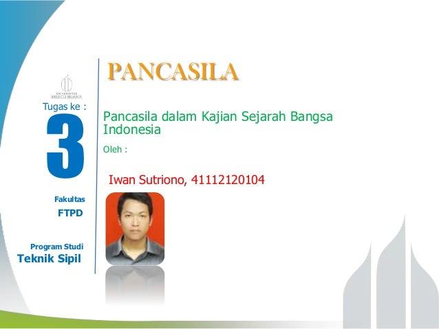 PANCASILA  03 Tugas ke : Modul ke:  Fakultas  Fakultas  FTPD Program Studi  Program Studi  Teknik Sipil  Pancasila dalam K...