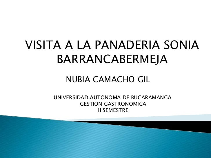 VISITA A LA PANADERIA SONIA <br />BARRANCABERMEJA <br />NUBIA CAMACHO GIL  <br />UNIVERSIDAD AUTONOMA DE BUCARAMANGA<br />...