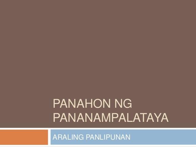 PANAHON NG PANANAMPALATAYA ARALING PANLIPUNAN