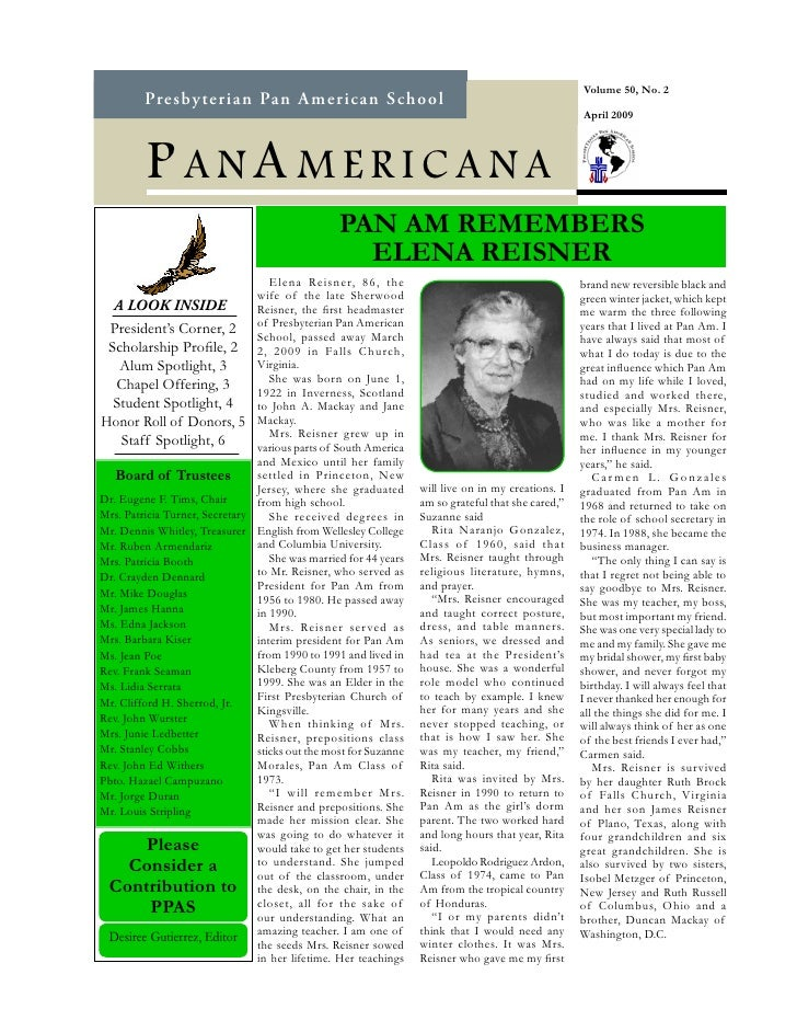Panamericana Newsletter April 09
