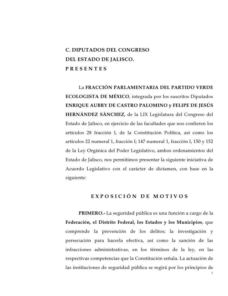 C. DIPUTADOS DEL CONGRESODEL ESTADO DE JALISCO.PRESENTES      La FRACCIÓN PARLAMENTARIA DEL PARTIDO VERDEECOLOGISTA DE MÉX...