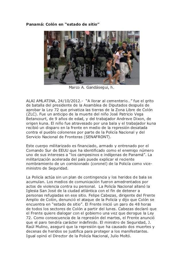 """Panamá: Colón en """"estado de sitio""""                      Marco A. Gandásegui, h.ALAI AMLATINA, 24/10/2012.- """"A llorar al ce..."""