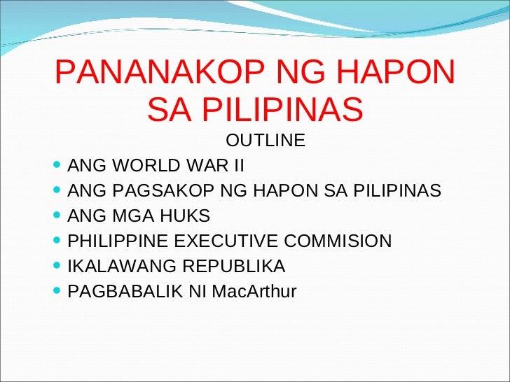 Pananakop Ng Hapon Sa Pilipinas Castillantescatherine